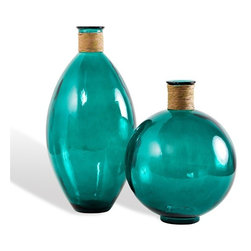Interlude - Kingston Wrapped Vases Set of 2 - A brilliant shade of teal gives the classic modern shape of these raffia-wrapped vases a jolt of energy and spirit.