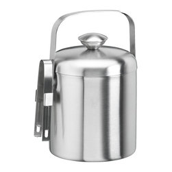 Kraftware - Brushed 1.5-qt. Ice Bucket w Tong - 9 in. W x 9 in. D x 9 in. H (2 lbs.)
