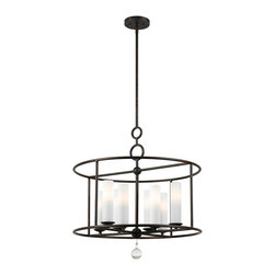 Crystorama - Crystorama 9266-EB Cameron 8 Light Chandeliers in English Bronze - You can see arts and crafts influence in our Cameron collection, but other details are inspired by more home design trends - sleek shapes, geometric motifs and pure white glass.