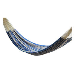 Thick Cord Mayan Hammock Nylon, Natural and Blue - Cotton Thick Cord Hammock. This hammock has been woven in a Thick Cord. This is a really big hammock. You may share it with somebody else.  Fits any space 13ft or longer.