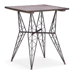 "Zuo Accents - Heavy Metal Bistro Table Rusted Metal with Distress Wood - The cafe-inspired Heavy Metal Bistro Table harkens back to past generations. The classic ""Eiffel"" design is rethought and remade from formed steel, perfect for any modern dining room, breakfast nook or kitchen."