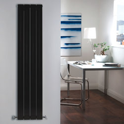 Hudson Reed - High Gloss Black Vertical Double Panel Aluminum Radiator 63 x 12.5 - Four double vertical panels with stylish grooves, finished in superior high gloss black (RAL9005), make this radiator a striking design feature of any contemporary living space. Manufactured from lightweight aluminum for optimum heat output, the double vertical panels deliver an amazing 1520 Watts (5188 BTUs), enough to heat your room quickly and efficiently.Stylish and effective, this modern classic connects directly into your domestic central heating system by means of the radiator valves included and is supplied complete with a fixing pack. This radiator comes complete with a 5 YEAR WARRANTY. High Gloss Black Vertical Double Flat Panel Designer Radiator 63 x 12.5 Features  Dimensions (H x W x D): 63 (1600mm) x 12.5 (318mm) x 3 (77mm) Output: 1520 Watts (5188 BTUs) Maximum Projection from Wall: 4.25 (108mm) Pipe centres with valves: 16.1 (410mm)  Number of panels: 4 x 2 Fixing Pack Included (see image above)  Designed to be plumbed into your central heating system  Suitable for bathroom, cloakroom, kitchen etc.  Weight: 20 lbs (9kg) Please note: Angled radiator valves included  Please Note: Our radiators are designed for forced circulation closed loop systems only. They are not compatible with open loop, gravity hot water or steam systems.
