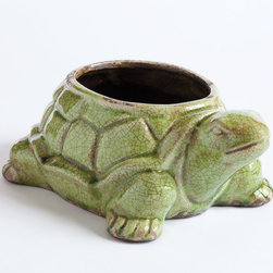 Big Daddy Turtle Planter - Green - This is the parental unit of our baby turtle planter. He's a bigger boy for your planting pleasure but likes to keep an eye on his offspring. Keep the family intact and order both!