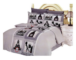 Le Vele - 6 Piece 100% Cotton Duvet Cover Set, Full/Queen Size Bedding - Decorate your bedroom with images of famous city sceneries printed in symmetrical rectangles on this bedding ensemble from Le Vele.- 6 Piece Luxury Duvet Cover Set with Reversible Design.- Fits Full or Queen Size mattress.- Made of 100% Soft Turkish Cotton at 305 Thread Count.- Set includes: 1 Flat bed sheet, 1 Duvet Cover, 2 Pillow Cases and 2 Pillow Shams.- Concealed plastic snaps at the foot of the duvet cover make it easy to insert a comforter, quilt or blanket.- Designed for exceptional softness and comfort with 100% Cotton at 300 TC.- Modern dyeing technology for excellent brightness and long lasting colors.- This bedding set comes in an elegant gift box and a gift bag.- Machine Washable: Normal w Cool Water - No bleach - Tumble Dry.Package Content and Sizes in Inches:1 Flat Bed Sheet 87 x 991 Duvet Cover 80 x 872 Pillow Cases 20 x 302 Pillow Shams 20 x 30 + 2 inch Flange NOTE: The digital images we display have the most accurate color possible. However, due to differences in computer monitors, we cannot be responsible for variations in color between the actual product and your screen.