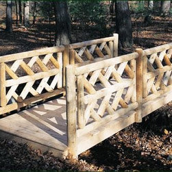 "Virginia Rail Bridge - All bridges are constructed with three 2"" x 8"" pressure treated stringers, natural Atlantic White Cedar decking and cedar railings. Arched bridges measure 48"" inside of posts, the 10' length has 2 end posts, the 12' and 14' have 2 end posts and 2 in-line posts. Flat bridges measure 60"" inside of posts, the 10' length has 2 end post, the 12' and 14' have 2 end posts and 1 in-line post.  Motor freight."