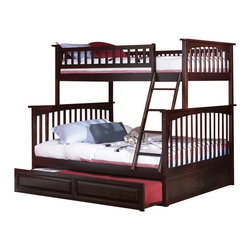 Atlantic Furniture - Atlantic Furniture Columbia Twin over Full Bunk Bed in Antique Walnut - Atlantic Furniture - Bunk Beds - AB55204 -