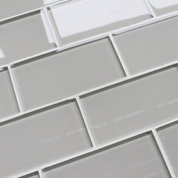 "Rocky Point Tile - Country Cottage 3""x6"" Glass Subway Tiles, 3"" X 6"" Sample - Soft and gentle like a warm country breeze. This color is nice and easy to work with. Country Cottage is a very light taupe. It could also be described as warm gray. Our subway tiles are loose packed giving customers the option to install them in the pattern of their choice. Lay them in a grid or subway pattern, or get creative and try a herringbone pattern or basket weave! Use 1/8"" spacers and the grout lines will always line up!"