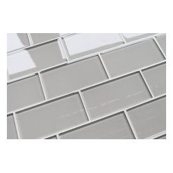 """Rocky Point Tile - Country Cottage 3""""x6"""" Glass Subway Tiles, 3"""" X 6"""" Sample - Soft and gentle like a warm country breeze. This color is nice and easy to work with. Country Cottage is a very light taupe. It could also be described as warm gray. Our subway tiles are loose packed giving customers the option to install them in the pattern of their choice. Lay them in a grid or subway pattern, or get creative and try a herringbone pattern or basket weave! Use 1/8"""" spacers and the grout lines will always line up!"""