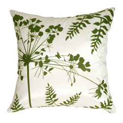 Pillow Decor - Pillow Decor - White with Green Spring Flower and Ferns Pillow - This series of pillows are very versatile, and coordinate beautifully together. The patterns are also in reverse for endless combinations. The graphic botanical print is clean and contemporary, and the fabric is sleek with a slight shimmer. Give your furniture an instant style makeover with a collection of these fresh designs!