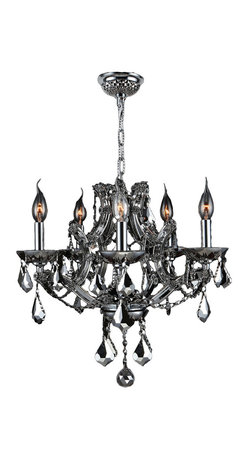 """Worldwide Lighting - Lyre 5-Light Chrome Finish Chrome Crystal Chandelier 19"""" x 18"""" - This stunning 5-light Crystal Chandelier only uses the best quality material and workmanship ensuring a beautiful heirloom quality piece. Featuring a radiant chrome finish and finely cut premium grade chrome colored crystals with a lead content of 30%, this elegant chandelier will give any room sparkle and glamour."""