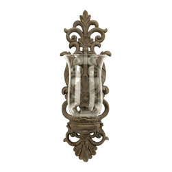 iMax - iMax Pollianna Wall Sconce with Glass Hurricane X-16204 - An intricate floral pattern in cast iron holds a glass hurricane, letting soft candlelight permeate the room.