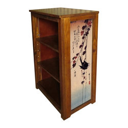 Kelseys Collection - Book cabinet 3 shelf  Blackbird on Ivy - Book cabinet in solid pine features three adjustable storage shelves with two giclee prints on the side panels, showcasing Hiroshige artwork. The giclee print have three coats of UV inhibitor. Dimensions are 33BY22BY12 Net weight 20 pounds. Three adjustable shelves. Estimated assembly time 20 minutes.