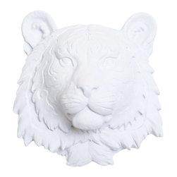 White Faux Taxidermy - White Faux Taxidermy - Mini Tiger Head - Fake Animal Mounts - Measurements: