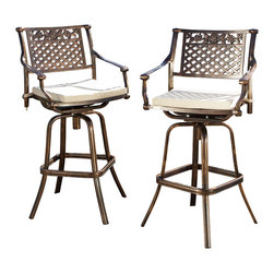 Great Deal Furniture - Sierra Outdoor Cast Aluminum Swivel Bar Stool w/ Cushion, Set of 2 - Perfect for creating an intimate seating area in your garden, the Sierra Cast Aluminum Bar Stool makes a wonderful choice. This bar stool lends a dash of elegance to your patio with its elaborate patterned design. Crafted from cast aluminum, this bar height stool will last for many years to come. A unique, antique copper finish sets this chair apart from the rest and its padded cushion ensures that you sit comfortably. It assembles easily and includes rust-resistant stainless steel hardware. A romantic European look that will enhance your outdoor living space.