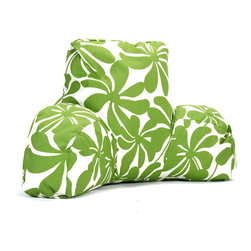 Majestic Home - Outdoor Sage Plantation Reading Pillow - Now you can kick back and relax anywhere, inside or out, with this comfortable and supportive Reading Pillow. The Majestic Home Goods Indoor/Outdoor Reading Pillow provides back and head support that is perfect for many activities such as reading, working on your laptop or lounging with friends. Stuffed with a super loft recycled polyester fiber fill, the reading pillows zippered slipcover is woven from Outdoor Treated polyester and has up to 1000 hours of U.V. protection. The slipcover also zips off and is machine-washable.