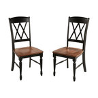 Home Styles - Home Styles Monarch X-Back Dining Chairs in Black and Oak (Set of 2) - Home Styles - Dining Chairs - 5008802 - The Monarch Double X-back Dining Chairs by Home Styles blends upscale design with functionality.