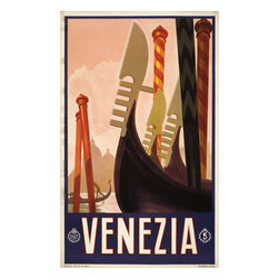 Keep Calm Collection - Venezia Vintage Travel Poster, Art Print - This product is reproduced from a publication, advertisement, or vintage poster. To maintain consistency with the original image, this final product has not been retouched. This print is produced on a 270 gsm fine art paper stock.