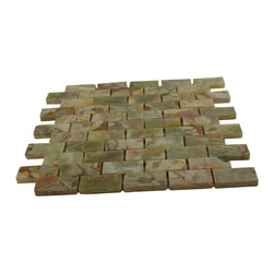 Dark Green Polished Bricks Onyx Pattern Mesh-Mounted Tiles - 1 in. x 2 in. Dark Green Mesh-Mounted Bricks Pattern Onyx Mosaic Tile is a great way to enhance your decor with a traditional aesthetic touch. This polished mosaic tile is constructed from durable, impervious onyx material, comes in a smooth, unglazed finish and is suitable for installation on floors, walls and countertops in commercial and residential spaces such as bathrooms and kitchens.