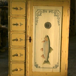 European Antique Food Cupboard  With Large Rainbow Trout - Made by http://www.ecustomfinishes.com