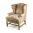 Kathy Kuo Home - Khaki Linen English Club Chair with Red Stripe - A classic English club chair with a masculine hardwood frame is finished with reclaimed oak legs and stretchers for a touch of country rustic detail. A classical French red stripe pattern highlights its rustic, yet sophisticated silhouette.