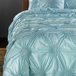 """Chloe"" Duvet Cover - A duvet in a soft tone with a monochromatic pattern will lend sweet dreams to any boudoir."