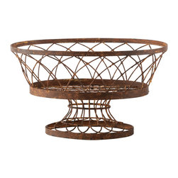 Aidan Gray - Aidan Gray Large Oval Basket Set of 2 7830GR - This oval basket has a large pedestal base and a hand aged rust finish. This version comes without the lid allowing even more uses in your home.