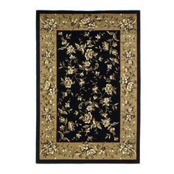 Cambridge 7336 Black/Beige Floral Delight Rug - Our Cambridge Series is machine-woven in China of heat-set polypropelene. This line features a current color palette in classic and transitional patterns providing a well-designed and durable rug at a very affordable price point. No fringe.
