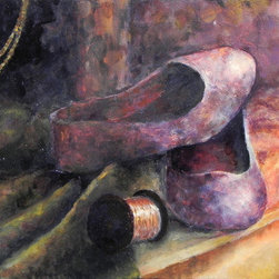 Still-Life, Purple Shoes (Original) by Sarina  Mitchel - Believe it or not, no purple was used in the creation of this still-life. I used a limited palette technique with only red, yellow, black, white, and brown, but mixed these base colors in many different ways to create purples and greens.
