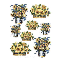IdeaStix - Sunflowers 2-Sheet IdeaStix Accents Peel and Stick - IdeaStix Accents transform ordinary tiles, mugs, containers and such into beautiful art decorations.  Made from proprietary rubber-resin, Premium Peel and Stick Decor Accent 16 pieces are made in the shape of the design motif and come on 2 sheets (7.5 x 10.5 inches) and offer Quick and Easy solution for accentuating so many things.  With features like microwave safe, water/heat/steam-resistant, nontoxic, washable, removable and reusable, they are ideal for kitchen backsplash and bath/shower tile cecoration and also are great as labels for smooth and non-porous surfaces of plastic and glass containers, canisters, mugs, etc.  You can write on them with permanent markers.  IdeaStix Accents are probably the only products that have all these unique and wonderful features.