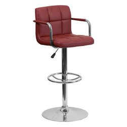 Flash Furniture - Flash Furniture Contemporary Burgundy Quilted Vinyl Adjustable Height Bar Stool - This sleek dual purpose stool easily adjusts from counter to bar height. The simple design allows it to seamlessly accent any area in the home. Not only is this stool stylish, but very comfortable to provide you with an amazing sitting experience! The easy to clean vinyl upholstery is an added bonus when stool is used regularly. The height adjustable swivel seat adjusts from counter to bar height with the handle located below the seat. The chrome footrest supports your feet while also providing a contemporary chic design. [CH-102029-BURG-GG]