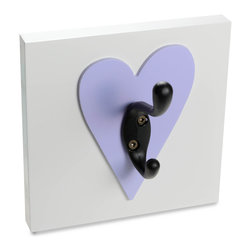 Homeworks Etc - Homeworks Etc Heart Single Wall Hook, lavender - Decorative heart themed wall hook for the nursery and kids room.  Great for hanging towels, clothes, and more.