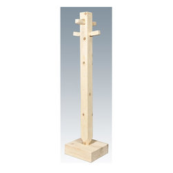 Montana Woodworks - 68 in. Wooden Coat Tree - Hand crafted. Sawn square timbers and trim pieces for rustic timber frame design. Heirloom quality. Solid lodge pole pine. Wide, stable base. Made from U.S. solid grown wood. Lacquered finish. Made in U.S.A.. No assembly required. 13 in. W x 10 in. D x 68 in. H (23 lbs.). Warranty. Use and Care InstructionsFrom Montana Woodworks, the largest manufacturer of handcrafted quality log furnishings in America comes the all new Homestead Collection line of furniture products. Imagine the delight on your friends faces when they enter your home and see your Montana Woodworks rustic coat tree. Truly functional while requiring only a minimum of space in the foyer or hall, it is a wonderful conversation starter. Often the first piece purchased by a customer new to rustic log furniture, it is never the last. Each piece signed by the artisan who makes it.