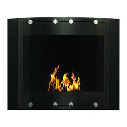 DecoFlame - Arch Modern Ventless Wall Mounted Ethanol Fireplace, Black - Arch provides a sophisticated and streamlined aesthetic to any space using its curved frame offered in stainless steel and black or red high-gloss enamel. This fireplace offers an eco-friendly flame that is odorless. Bio Ethanol, an alternative fuel source produced from plants, only emits water vapor and carbon dioxide into the air, therefore no chimney or flue is needed. Although ethanol fireplaces aren't intended for use as a primary heat source, the Arch model produces approximately 9,800 btu with the help of its stainless burner, which will change the noticeable temperature in a room of approximately 450 square feet. For aesthetic appeal and safety, this fireplace includes two tempered glass sliding doors that are situated in front of the flame. Appropriate for any modern or contemporary living space, Arch can be mounted on the wall using the included hardware.