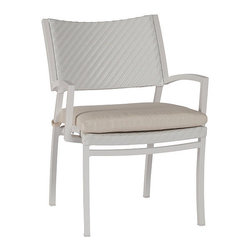 Frontgate - Dolphin Dining Arm Chair/Woven Back with Cushion - Frontgate, Patio Furniture - Each piece is crafted with a distinctive mix of materials and nautical details. All-weather extruded aluminum frames. 100% solution-dyed acrylic fabric. Premium, high-density foam cushions included. Teak details and tabletops. The Dolphin Collection by Summer Classics is designed in the spirit of nautical adventures, with rounded, billowing edges and teak details. Sunbrella cloth, that evokes the characteristics of catamaran sails, covers the sling back of the recliner. Seat arms and table sides are woven in high-quality white or mahogany resin wicker, woven in a fine herringbone pattern. Frames are crafted from all-weather extruded aluminum. Generous seating is equipped with extra plush cushions, covered in high-performing, solution-dyed fabrics.  .  .  .  .  . Arms and table sides are wrapped in high-quality resin wicker, woven in a fine herringbone pattern . Note: Due to the custom-made nature of the cushions, any fabric changes or cancellations made to the Dolphin Collection by Summer Classics&reg must be made within 24 hours of ordering.