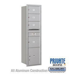Salsbury Industries - 4C Horizontal Mailbox (Includes Master Commercial Lock) - Maximum Height Unit (5 - 4C Horizontal Mailbox (Includes Master Commercial Lock) - Maximum Height Unit (56 3/4 Inches) - Single Column - 3 MB2 Doors / 1 MB3 Door / 1 PL - Aluminum - Rear Loading - Private Access