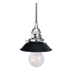 """Hammers & Heels - Farmhouse 4 & 3/4"""" Cone Shade Pendant Light- Stainless Steel Cord - The Farmhouse Collection is petite with a punch of style these metal cone shade pendant lights add a vintage feel to any space."""