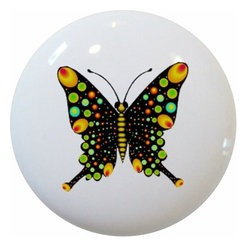 Carolina Hardware and Decor, LLC - Black Butterfly Ceramic Knob - New 1 1/2 inch ceramic cabinet, drawer, or furniture knob with mounting hardware included. Also works great in a bathroom or on bi-fold closet doors (may require longer screws). Item can be wiped clean with a soft damp cloth. Great addition and nice finishing touch to any room!