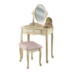 "Powell - Powell Off-White Vanity Mirror & Bench X-092-929 - Enchanting vanity features an adjustable mirror and full size drawer. Table top provides space for cosmetics and beauty supplies. Lovely pastel pink upholstered bench. ""Off White"" finish is accented with charming Queen Anne legs. Some assembly required."