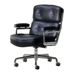 Herman Miller - Eames Executive Chair by Herman Miller - The Eames® Executive Chair by Herman Miller® is also known as a Time-Life Chair, in that it was originally designed in 1960 to furnish the ultra-modern lobbies of the Time-Life Building. The generously sized chair has thick cushions and armrests upholstered in supple leather. Its lightweight aluminum frame has five glides or rolling castors and is height adjustable. Since its early beginnings in 1905 (then known as the Star Furniture Company), Herman Miller has stood as one of the leaders in ergonomic furniture design and manufacture. Today, with a strong focus on designing furnishings with excellent form and function, this Michigan-based company produces a variety of home and office products that improve the human experience wherever people work, create, learn and live.