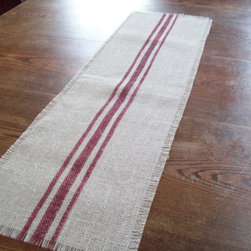 Burlap Table Runner with Barn Red Grain Sack Stripes by North Country Comforts - No farmhouse kitchen is complete until a grain sack runner is added to the island. I love this one in red and cream.