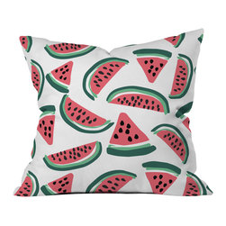 DENY Designs - Zoe Wodarz Watermelon Wander Outdoor Throw Pillow - Do you hear that noise? It's your outdoor area begging for a facelift and what better way to turn up the chic than with our outdoor throw pillow collection? Made from water and mildew proof woven polyester, our indoor/outdoor throw pillow is the perfect way to add some vibrance and character to your boring outdoor furniture while giving the rain a run for its money. Custom printed in the USA for every order.