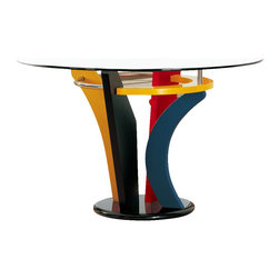 Global Furniture - Global Neville Round Clear Glass Dining Table with Multicolor Base - Brighten up your dining space with this multi-colored dining table. Featuring blue, yellow, black, and red finished base with metal accents and a round glass table top creating the perfect combination of style.