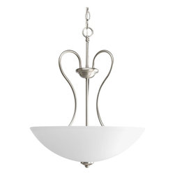Progress Lighting - Progress Lighting P3955-09 Heart Transitional Inverted Pendant Light - Inspired by love. Iron arms mimic the shape os a heart. Candelabra version or etched glass shades share the same frame. Curvaceous, flowing and competitively priced.