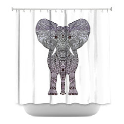 DiaNoche Designs - Shower Curtain Artistic - Elephant Purple - DiaNoche Designs works with artists from around the world to bring unique, artistic products to decorate all aspects of your home.  Our designer Shower Curtains will be the talk of every guest to visit your bathroom!  Our Shower Curtains have Sewn reinforced holes for curtain rings, Shower Curtain Rings Not Included.  Dye Sublimation printing adheres the ink to the material for long life and durability. Machine Wash upon arrival for maximum softness. Made in USA.  Shower Curtain Rings Not Included.