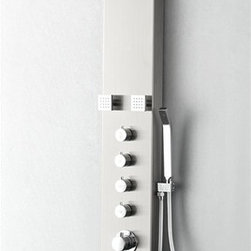 "Fresca - Fresca Verona Stainless Steel (Brushed Silver) Thermostatic Shower Massage Panel - A strikingly modern design sets the Fresca Verona Shower Massage Panel, FSP8006BS, apart from other models. A brushed silver finish with contrasting stainless steel fixtures give this H 60 1/4"" x W 7"" x D 20 1/4"" thermostatic shower massage panel a contemporary elegance. The flat 7"" shower head features both rainfall and waterfall options, a handheld attachment for direct spray, and four adjustable massage jets. Individual volume control knobs also let you operate each feature independently."