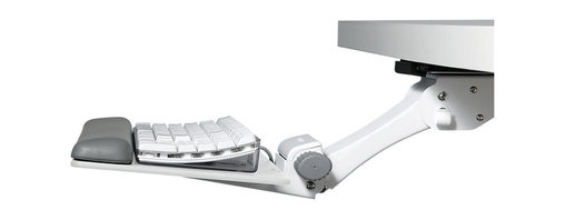 Humanscale - 6G Keyboard Tray - Fight finger fatigue and more serious repetitive stress injuries with this keyboard tray. Made in white powder-coated steel, it adjusts to put the keyboard right where you need it and offers a padded wrist rest to keep you and your office happy, healthy and productive.