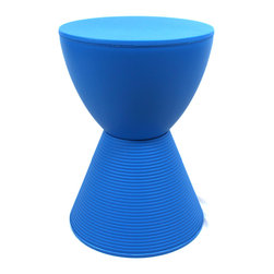 IMPORT LIGHTING & FUNITURE - Spring Hourglass Prince Aha Stool, Blue - Colorful, lighthearted and practical, the Prince AHA Stool is an entertaining accessory for the home and the backyard. Composed of two polypropylene cones in an hourglass figure, Prince AHA works well as both a stool and a bedside or living room stand