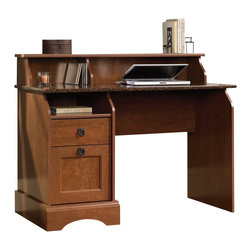 Sauder - Sauder Graham Hill Desk in Autumn Maple - Sauder - Computer Desks - 408761 - Sure lots of office and home furnishing manufacturers can help you create an organized comfortable and fashionable place to live. But Sauder provides a special kind of furniture that is practical and affordable as well as attractive and enduring. As North America's leading producer of ready-to-assemble furniture we offer more than 500 items that have won national design awards and generated thousands of letters of gratitude from satisfied consumers.