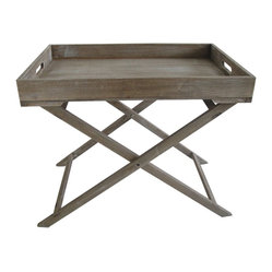 INDUSTRIAL TRAY TABLE - A wooden tray on a folding frame speaks of casual elegance and rustic chic. Whether you use it as an accent table or a place to set your morning croissant, this distressed wooden tray table is the perfect accessory for a stylish room.