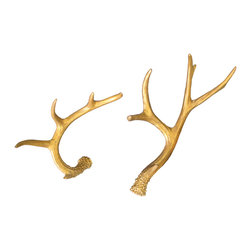 Golden Antlers Set - Inject a burst of comforting gold color into your living space with the Golden Antlers Set. Two deer antlers are painted with gold resin for a unique take on the great outdoors. Place them on your side tables or wall for a touch of rustic charm.